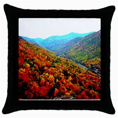 Through The Mountains Black Throw Pillow Case