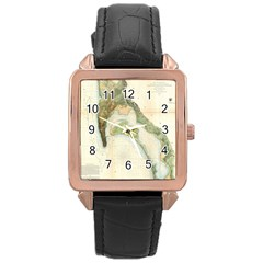 Vintage Map Of The San Diego Bay (1857) Rose Gold Leather Watch