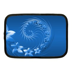 Blue Abstract Flowers Netbook Case (Medium)