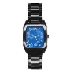 Blue Abstract Flowers Men s Stainless Steel Barrel Analog Watch