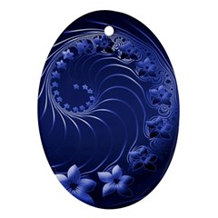 Dark Blue Abstract Flowers Oval Ornament