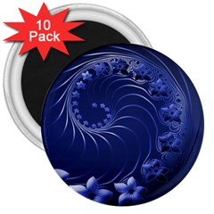 Dark Blue Abstract Flowers 3  Button Magnet (10 pack)
