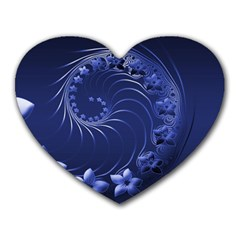 Dark Blue Abstract Flowers Mouse Pad (heart)