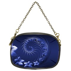 Dark Blue Abstract Flowers Chain Purse (Two Side)