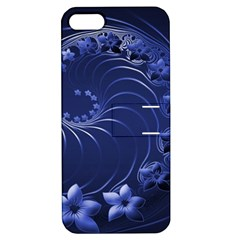Dark Blue Abstract Flowers Apple iPhone 5 Hardshell Case with Stand