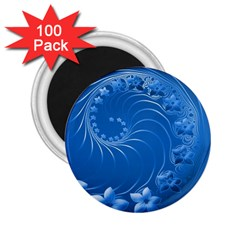 Blue Abstract Flowers 2.25  Button Magnet (100 pack)