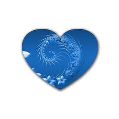 Blue Abstract Flowers Drink Coasters (Heart)