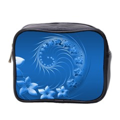 Blue Abstract Flowers Mini Travel Toiletry Bag (Two Sides)