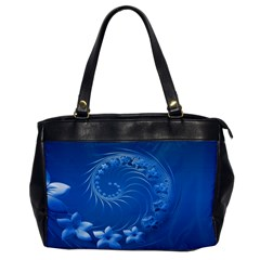 Blue Abstract Flowers Oversize Office Handbag (one Side)
