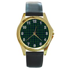 Lamont Tartan Round Metal Watch (gold Rim)