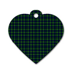 Lamont Tartan Dog Tag Heart (one Sided)