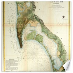 Vintage Map Of The San Diego Bay (1857) Canvas 16  x 16  (Unframed)