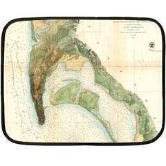 Vintage Map of San Diego (1857) Mini Fleece Blanket (Two-sided)