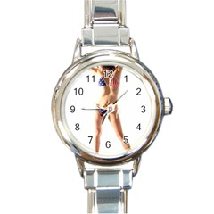 Usa Girl Round Italian Charm Watch