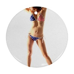 Usa Girl Round Ornament