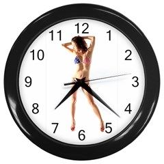 Usa Girl Wall Clock (Black)