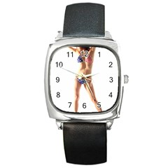 Usa Girl Square Leather Watch