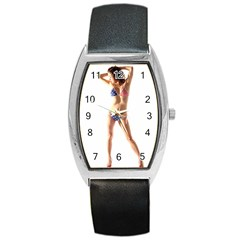 Usa Girl Tonneau Leather Watch