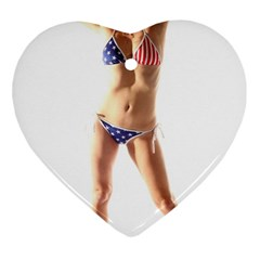 Usa Girl Heart Ornament (Two Sides)