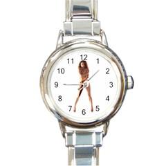 Usa Girl Round Italian Charm Watch