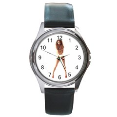 Usa Girl Round Metal Watch (Silver Rim)