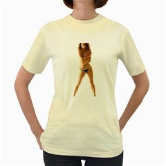 Usa Girl  Womens  T-shirt (Yellow)