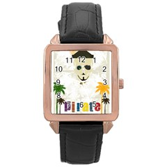 P1234 Rose Gold Leather Watch