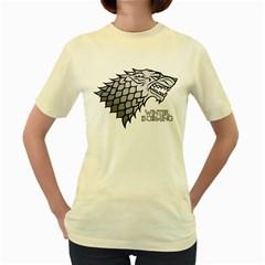 Winter is Coming ( Stark ) 2  Womens  T-shirt (Yellow)