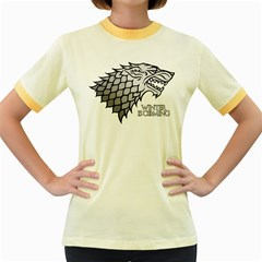 Winter Is Coming ( Stark ) 2 Womens  Ringer T Shirt (colored)