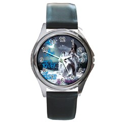 As The River Rises  Round Metal Watch (silver Rim)