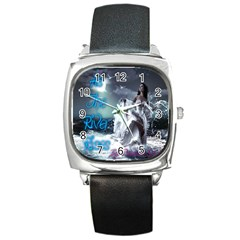 As The River Rises  Square Leather Watch