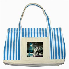 As The River Rises  Blue Striped Tote Bag