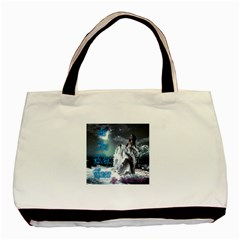 As The River Rises  Twin-sided Black Tote Bag