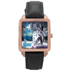As The River Rises  Rose Gold Leather Watch