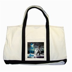 As The River Rises  Two Toned Tote Bag