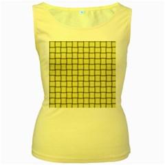 Cream Weave Womens  Tank Top (Yellow)