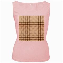 Cream Weave Womens  Tank Top (Pink)