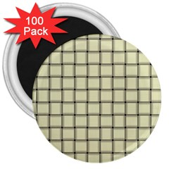 Cream Weave 3  Button Magnet (100 Pack)