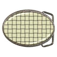 Cream Weave Belt Buckle (Oval)
