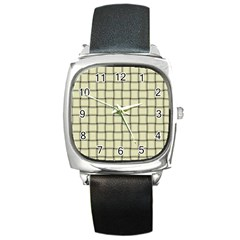 Cream Weave Square Leather Watch