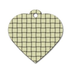 Cream Weave Dog Tag Heart (One Sided)