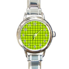 Fluorescent Yellow Weave Round Italian Charm Watch