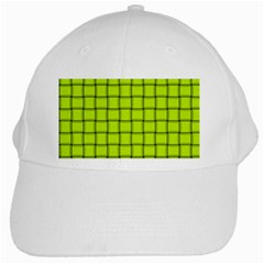 Fluorescent Yellow Weave White Baseball Cap