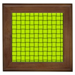 Fluorescent Yellow Weave Framed Ceramic Tile
