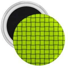 Fluorescent Yellow Weave 3  Button Magnet