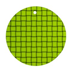 Fluorescent Yellow Weave Round Ornament