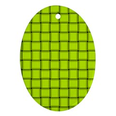 Fluorescent Yellow Weave Oval Ornament