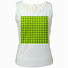 Fluorescent Yellow Weave Womens  Tank Top (White)
