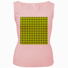 Fluorescent Yellow Weave Womens  Tank Top (pink)