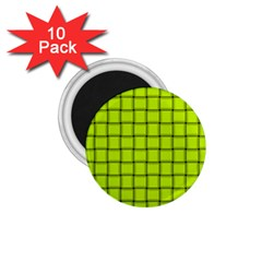 Fluorescent Yellow Weave 1 75  Button Magnet (10 Pack)